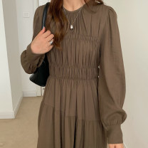 Dress Autumn 2020 Brown, black Average size longuette singleton  Long sleeves commute Crew neck High waist Solid color 18-24 years old Other / other Korean version