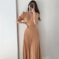 Dress Summer 2020 Apricot, green, yellow S, M Mid length dress singleton  Short sleeve commute V-neck Solid color Pleated skirt 18-24 years old Other / other Korean version