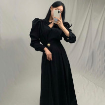 Dress Autumn 2020 Khaki, black Average size longuette singleton  Long sleeves commute V-neck High waist Solid color puff sleeve 18-24 years old Other / other Korean version