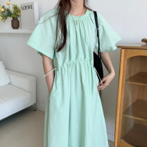 Dress Summer 2021 Apricot, light green Average size longuette singleton  Short sleeve commute Crew neck Loose waist Solid color Socket other routine Others 18-24 years old Type A Other / other 71% (inclusive) - 80% (inclusive) other cotton