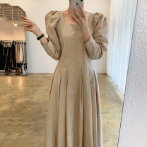 Dress Korean version longuette singleton  Long sleeve commute square neck High waist Solid color 18-24 years old Autumn 2020 Other / other One size fits all