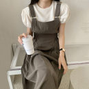 Fashion suit Summer 2021 Average size White T-shirt, black T-shirt, off white suspender skirt, brown suspender skirt 18-25 years old Other / other