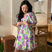 Dress Summer 2021 Picture color Average size Short skirt singleton  Short sleeve square neck High waist Big flower other A-line skirt puff sleeve 18-24 years old Other / other