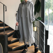 Dress Winter 2020 Light grey, dark grey, black Average size longuette singleton  Long sleeves commute Hood Loose waist Solid color Socket routine 25-29 years old Type H Other / other Korean version Splicing knitting cotton