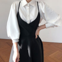 Fashion suit Spring 2021 Average size White shirt, black suspender skirt 18-25 years old Other / other