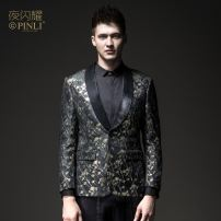 man 's suit black Pinli Fashion City routine M170,L175,XL180,XXL185,XXXL190 BY183106011 Polyester fiber 81.7% metal coated fiber 18.3% Self cultivation A single breasted button Other leisure Back middle slit youth Long sleeves autumn routine tide Casual clothes Green fruit collar Round hem other 2018