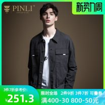 Jacket Pinli Fashion City Black, gray M170,L175,XL180,XXL185,XXXL190 routine Self cultivation Other leisure spring B201104062 Other 100% Long sleeves Wear out Lapel tide youth routine Single breasted Cloth hem stripe More than two bags) Side seam pocket