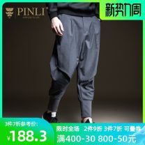 Casual pants Pinli Fashion City 29,30,31,32,33,34,36 routine trousers Other leisure easy Micro bomb autumn youth tide 2019 middle-waisted Haren pants Rib stitching Solid color