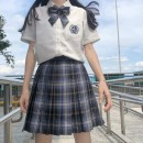 skirt Summer 2020 S,M,L,XL Takima sea 43cm plaid skirt + tie, takima sea 43cm plaid skirt + double tie, takima sea 43cm plaid skirt + tie, takima sea 43cm plaid skirt + tie, takima sea 48CM plaid skirt, Haohai shirt Short skirt Versatile High waist Pleated skirt lattice Type A 18-24 years old