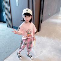 suit Yubeiyi people female summer Korean version Short sleeve + pants 2 pieces Thin money There are models in the real shooting Condom nothing Cartoon animation cotton children Expression of love Other 100% Chinese Mainland Beige Plaid Cartoon Bear suit, Pink Plaid Cartoon Bear suit