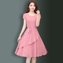 Dress Summer 2021 Pink, red, green, navy M,L,XL,2XL,3XL,4XL Mid length dress singleton  Short sleeve commute Crew neck middle-waisted Solid color Socket Ruffle Skirt routine 30-34 years old Type A Korean version Bow, Ruffle 81% (inclusive) - 90% (inclusive) Chiffon