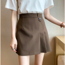 skirt Summer 2021 S,M,L,XL Black, grey, brown Short skirt Versatile High waist Pleated skirt Solid color Type A 25-29 years old 71% (inclusive) - 80% (inclusive) other Power society Pleated, zipper