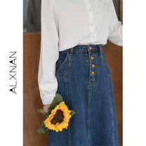 skirt Spring 2021 S,M,L Blue, blue Mid length dress commute High waist A-line skirt Solid color Type A 18-24 years old LXN16232 Denim pocket
