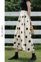 skirt Summer 2020 S,M,L Apricot, apricot Mid length dress Versatile High waist A-line skirt Dot Type A LXN12223 Deer to the South Button