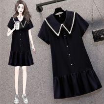 Women's large Summer 2021 S72-n-blue, l64-b-black Big L, big XL, big M, big 2XL, big 3XL, big 4XL Dress singleton  commute easy thin Socket Short sleeve Solid color Korean version Three dimensional cutting routine 3 Other / other Medium length