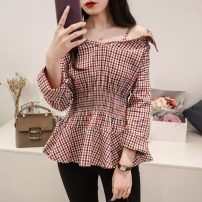 shirt Little red, black and white M,L,XL,2XL,3XL,4XL Autumn of 2019 cotton 81% (inclusive) - 90% (inclusive) three quarter sleeve commute Regular One word collar Socket routine lattice 18-24 years old High waist type Other / other Korean version