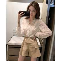 Lace / Chiffon Autumn 2020 Picture color, white vest S,M,L Long sleeves commute Cardigan V-neck Solid color puff sleeve Other / other Korean version 31% (inclusive) - 50% (inclusive)