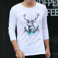 T-shirt Youth fashion routine M L XL XXL XXXL Ffk Long sleeves Crew neck Self cultivation daily Four seasons Cotton 100% teenagers routine tide Sweat cloth Autumn 2015 Alphanumeric printing cotton Creative interest Hanging dyeing Domestic non famous brands Pure e-commerce (online only) More than 95%