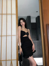 Dress Summer 2021 Sleeveless singleton  Short skirt commute other routine High waist Condom Solid color 18-24 years old One pace skirt More than 95% other Type H Breast wrapping Korean version Ruffles, hollowed out, pleated and beaded S,M,L