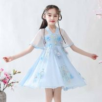 Tang costume Red, light blue, pink 100cm,110cm,120cm,130cm,140cm,150cm Polyester 100% female summer There are models in the real shooting routine Doveark polyester fiber Class B Solid color Cotton liner 10, 11, 12, 13, 14, 5 Chinese Mainland
