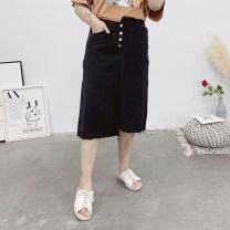 Women's large Summer of 2019 black Large XL, 2XL, 3XL, 4XL skirt singleton  Self cultivation moderate Solid color Denim Three dimensional cutting Button Medium length