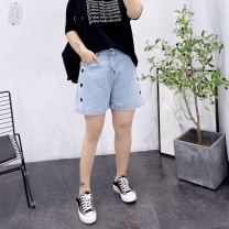 Women's large Spring 2021, summer 2021 blue Large XL, 2XL, 3XL, 4XL trousers singleton  Sweet easy thin Shape, solid color Denim Three dimensional cutting Embroidery shorts