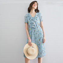 Dress Summer 2020 wathet S,M,L,XL Mid length dress singleton  Short sleeve commute V-neck Decor Pleated skirt routine Others Type X At this time of the year Ol style More than 95% Chiffon Cellulose acetate