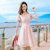Dress Summer of 2019 Lotus root powder S,M,L Short skirt singleton  Short sleeve commute V-neck High waist Solid color Socket A-line skirt routine Others 25-29 years old Type A Madonna Korean version Cut out, embroidery, lace MDN19003 81% (inclusive) - 90% (inclusive) Lace cotton