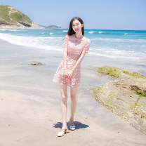 Dress Summer of 2019 Pink XS,S,M,L,XL Short skirt singleton  Short sleeve commute Crew neck High waist Solid color zipper A-line skirt routine Others Type A Madonna Korean version MDN003 91% (inclusive) - 95% (inclusive) Lace polyester fiber