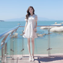 Dress Summer of 2019 white XS,S,M,L Short skirt singleton  Short sleeve commute Crew neck High waist Solid color Socket A-line skirt routine Others Type A Madonna Korean version 91% (inclusive) - 95% (inclusive) Lace polyester fiber