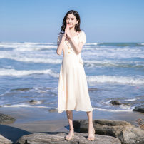 Dress Summer 2020 Apricot XS,S,M,L Mid length dress singleton  Short sleeve commute Crew neck High waist Solid color Socket Ruffle Skirt routine Others Type H Madonna Korean version Ruffles, stitching, buttons, zippers, seaside resort skirt YB201021 91% (inclusive) - 95% (inclusive) Chiffon