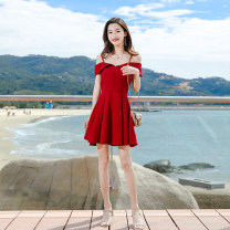 Dress Summer of 2019 gules M, L Short skirt singleton  Short sleeve commute One word collar High waist Solid color Socket A-line skirt Sleeve camisole 18-24 years old Type A Madonna Korean version MDN19024-1 Chiffon