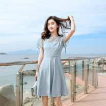 Dress Summer of 2019 wathet S,M,L Short skirt singleton  Short sleeve commute Crew neck High waist Solid color Socket A-line skirt routine Others 18-24 years old Type A Madonna Korean version