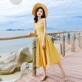 Dress Summer of 2019 yellow XS,S,M,L Mid length dress singleton  Sleeveless commute One word collar High waist Solid color Socket Big swing routine straps 18-24 years old Type A Madonna Korean version Lace up, stitching, bandage, strap, zipper, leaky strap dress MDN19007 Chiffon polyester fiber