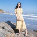 Dress Summer 2020 yellow XS,S,M,L Mid length dress singleton  Short sleeve commute Doll Collar High waist Solid color Single breasted A-line skirt Petal sleeve Others Type A Madonna Korean version 91% (inclusive) - 95% (inclusive) Chiffon polyester fiber