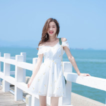 Dress Summer of 2019 white XS,S,M Short skirt singleton  Short sleeve commute One word collar High waist Decor Socket A-line skirt Flying sleeve camisole 18-24 years old Type A Madonna Korean version MDN18210 91% (inclusive) - 95% (inclusive) organza  polyester fiber