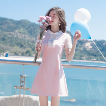 Dress Summer of 2019 Pink S,M,L Short skirt singleton  Short sleeve commute Doll Collar High waist Solid color zipper A-line skirt routine Others Type A Madonna Korean version Ruffles, rivets, stitching, three-dimensional decoration, buttons, zippers, 3D, baby collar dress MDN18047 Chiffon