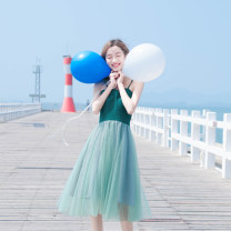 Dress Summer of 2019 green S,M,L Mid length dress singleton  Sleeveless commute other middle-waisted Solid color other Pleated skirt other camisole 18-24 years old Type A Madonna Korean version Mesh, zipper, lace MDN183444 81% (inclusive) - 90% (inclusive) polyester fiber