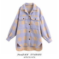 woolen coat Autumn 2020 XS,S,M,L Purple, red, green, pink other 71% (inclusive) - 80% (inclusive) Medium length Long sleeves street Single breasted lattice Splicing Europe and America