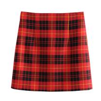 skirt Autumn of 2019 XS,S,M,L gules Short skirt street High waist skirt lattice Type A Splicing Europe and America