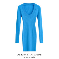 Dress Spring 2021 S, M longuette singleton  Long sleeves street V-neck middle-waisted Solid color Socket One pace skirt routine Type H thread knitting polyester fiber Europe and America