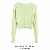 Wool knitwear Summer 2020 S,M,L Green, pink Long sleeves singleton  Cardigan other 71% (inclusive) - 80% (inclusive) have cash less than that is registered in the accounts routine street Self cultivation routine Plants and flowers Embroidery, stitching Europe and America