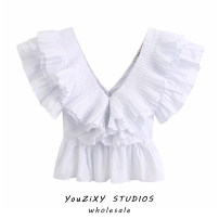 shirt white XS,S,M,L Summer 2020 other 71% (inclusive) - 80% (inclusive) street Short style (40cm < length ≤ 50cm) V-neck Socket Solid color Splicing Europe and America