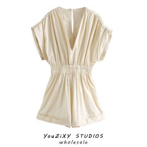 Casual pants Beige S,M,L Autumn 2020 shorts Jumpsuit High waist street routine Europe and America