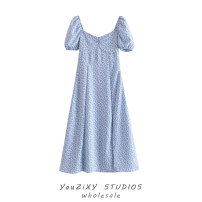 Dress Summer 2021 Decor S,M,L longuette singleton  Short sleeve Sweet V-neck Decor Single breasted Big swing puff sleeve Lace up, hollow out, stitching Bohemia