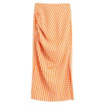 skirt Spring 2020 XS,S,M,L Picture color Mid length dress commute Natural waist lattice Fold, print Simplicity