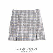 skirt Summer 2021 XS,S,M,L Decor Short skirt street High waist skirt lattice Type A Wool polyester fiber Zipper, stitching