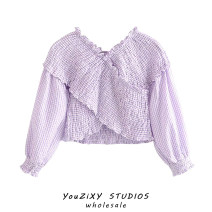 shirt Purple, black, red XS,S,M,L Summer 2020 other 71% (inclusive) - 80% (inclusive) Long sleeves street Short style (40cm < length ≤ 50cm) routine Stitching, printing Europe and America