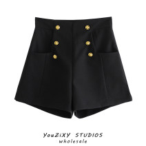 Casual pants black XS,S,M,L Spring 2021 shorts Wide leg pants High waist street routine polyester fiber pocket polyester fiber Europe and America Asymmetry