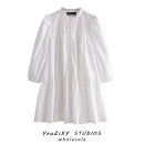 Dress Summer 2020 white XS,S,M,L Middle-skirt singleton  Long sleeves street Solid color Single breasted Gouhua hollowed out, splicing Europe and America